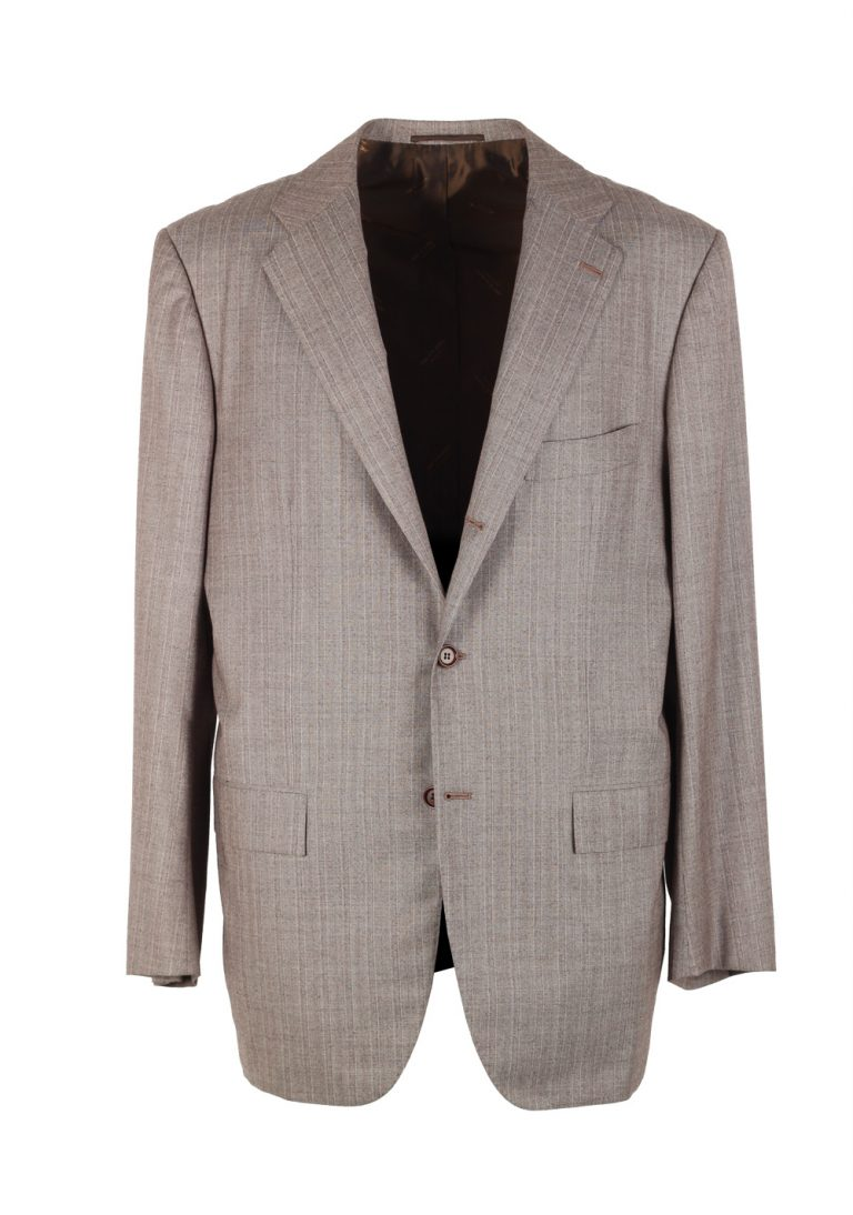 Kiton Greyish Beige Suit Size 52 / 42R U.S. In Wool 14 Micron - thumbnail | Costume Limité