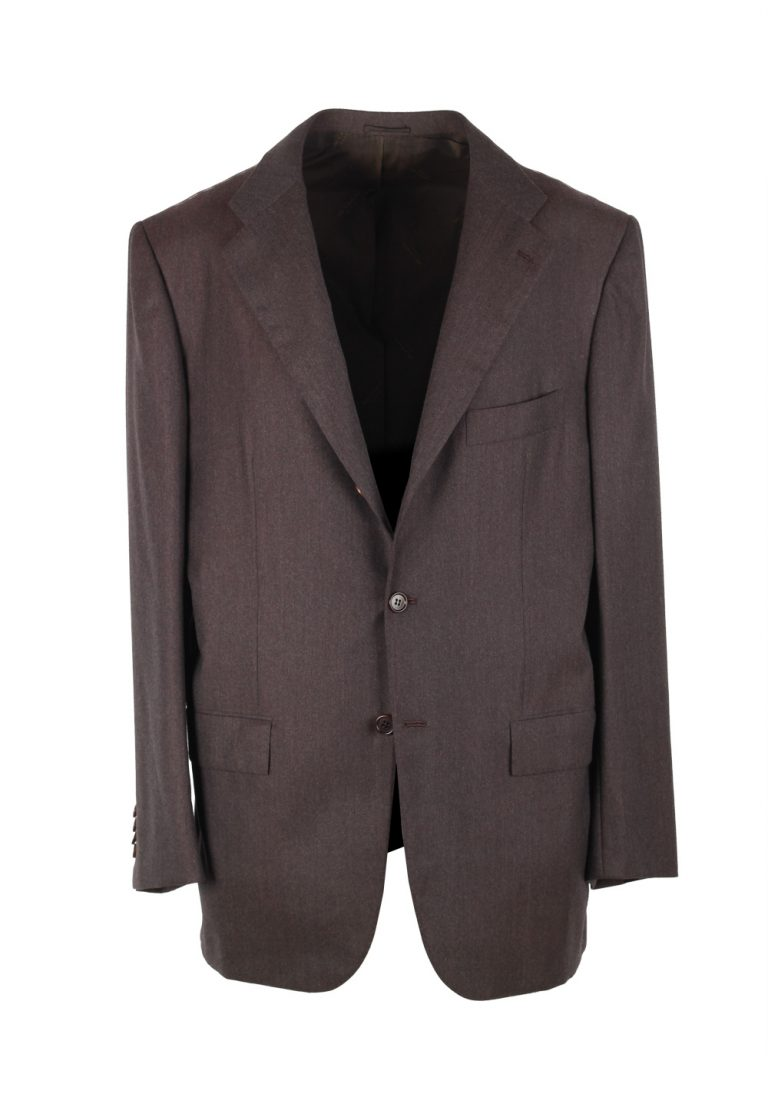 Kiton Solid Brown Suit Size 52 / 42R U.S. In Wool 14 Micron - thumbnail | Costume Limité