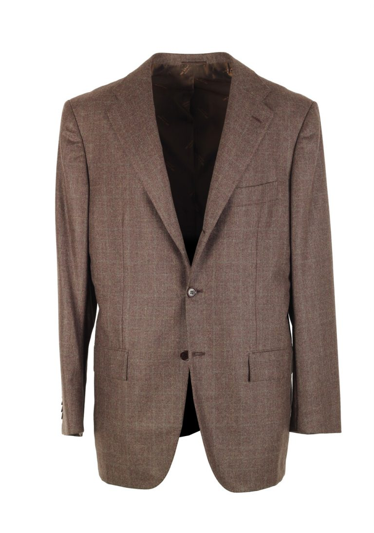 Kiton Checked Brown Sport Coat Size 50 / 40R U.S. In Cashmere - thumbnail | Costume Limité