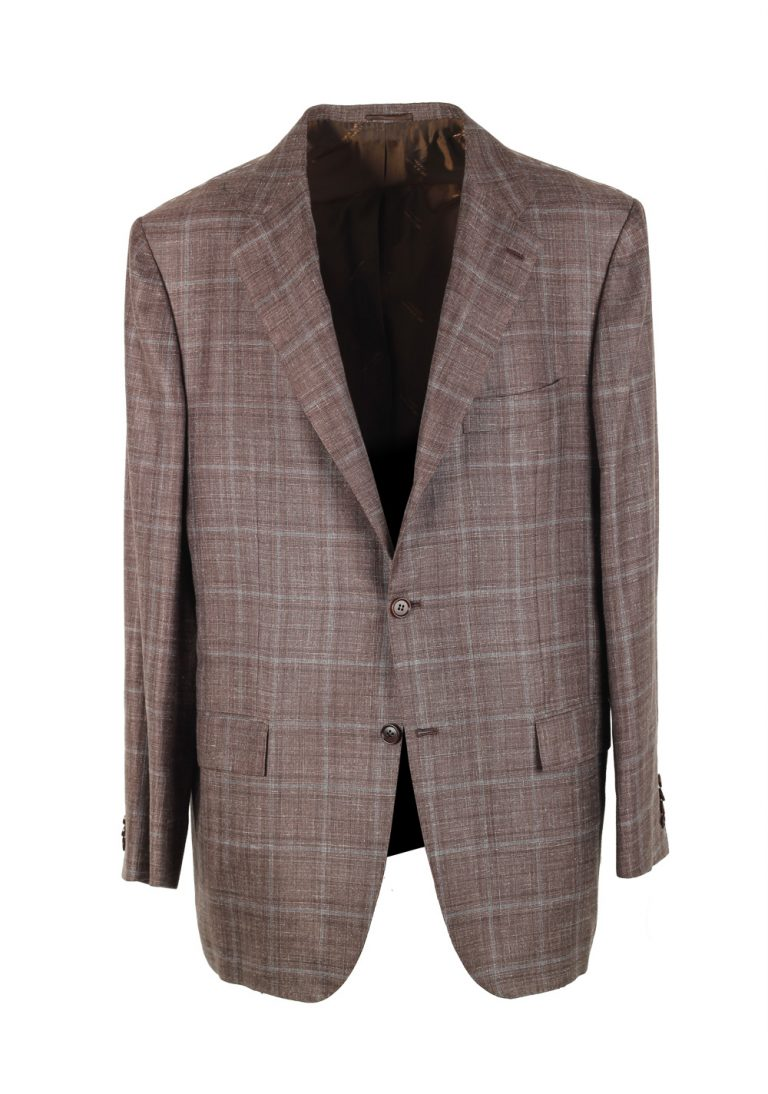 Kiton Checked Brown Sport Coat Size 56 / 46R U.S. In Cashmere - thumbnail | Costume Limité