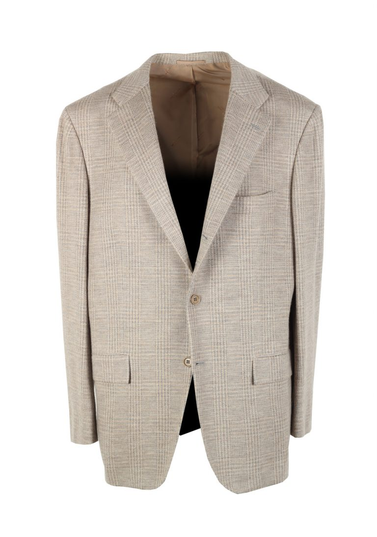Kiton Checked Gray Sport Coat Size 56 / 46R U.S. In Cashmere Blend - thumbnail | Costume Limité