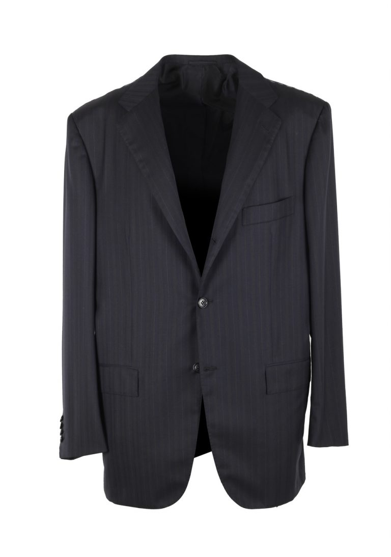 Kiton Striped Blue Suit Size 54 / 44R U.S. In Wool 14 Micron - thumbnail | Costume Limité