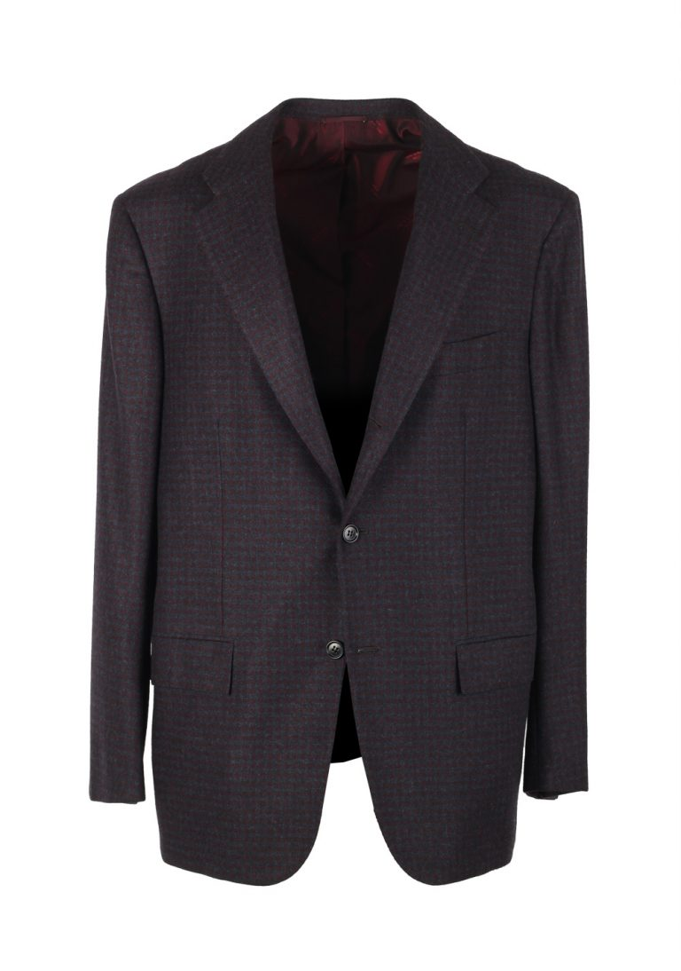 Kiton Checked Blue Sport Coat Size 54 / 44R U.S. In Cashmere Guanaco Argentina - thumbnail | Costume Limité