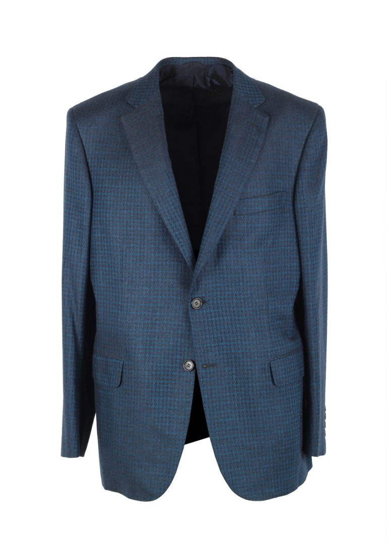Brioni Brunico Checked Blue Sport Coat Size 52 / 42R U.S. In Silk Cashmere - thumbnail | Costume Limité
