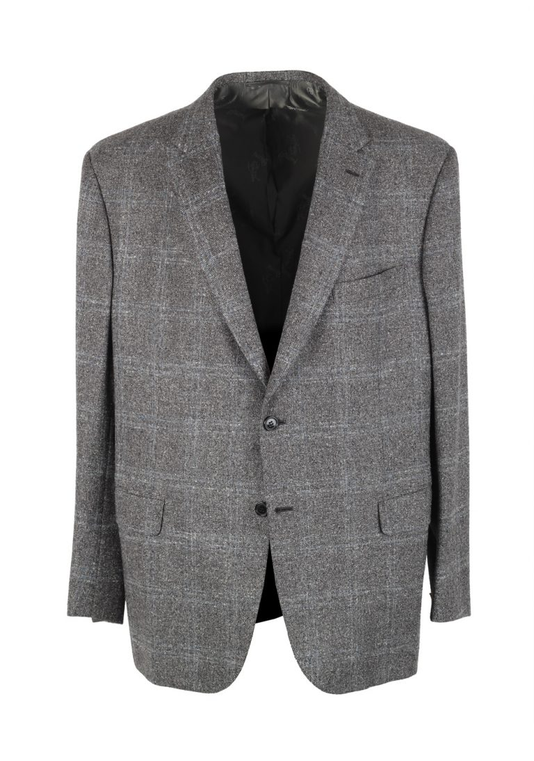 Brioni Brunico Checked Gray Coat Size 58 / 48R U.S. In Silk Wool - thumbnail | Costume Limité