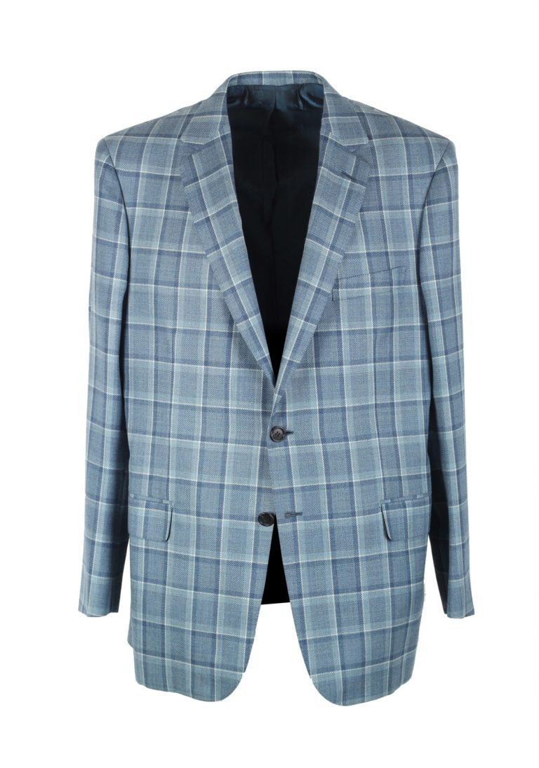 Brioni Colosseo Checked Blue Sport Coat Size 54 / 44R U.S. In Wool Silk - thumbnail | Costume Limité