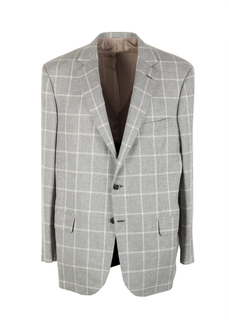 Brioni Colosseo Checked Gray Sport Coat Size 54 / 44R U.S. In Cashmere Wool Silk - thumbnail | Costume Limité