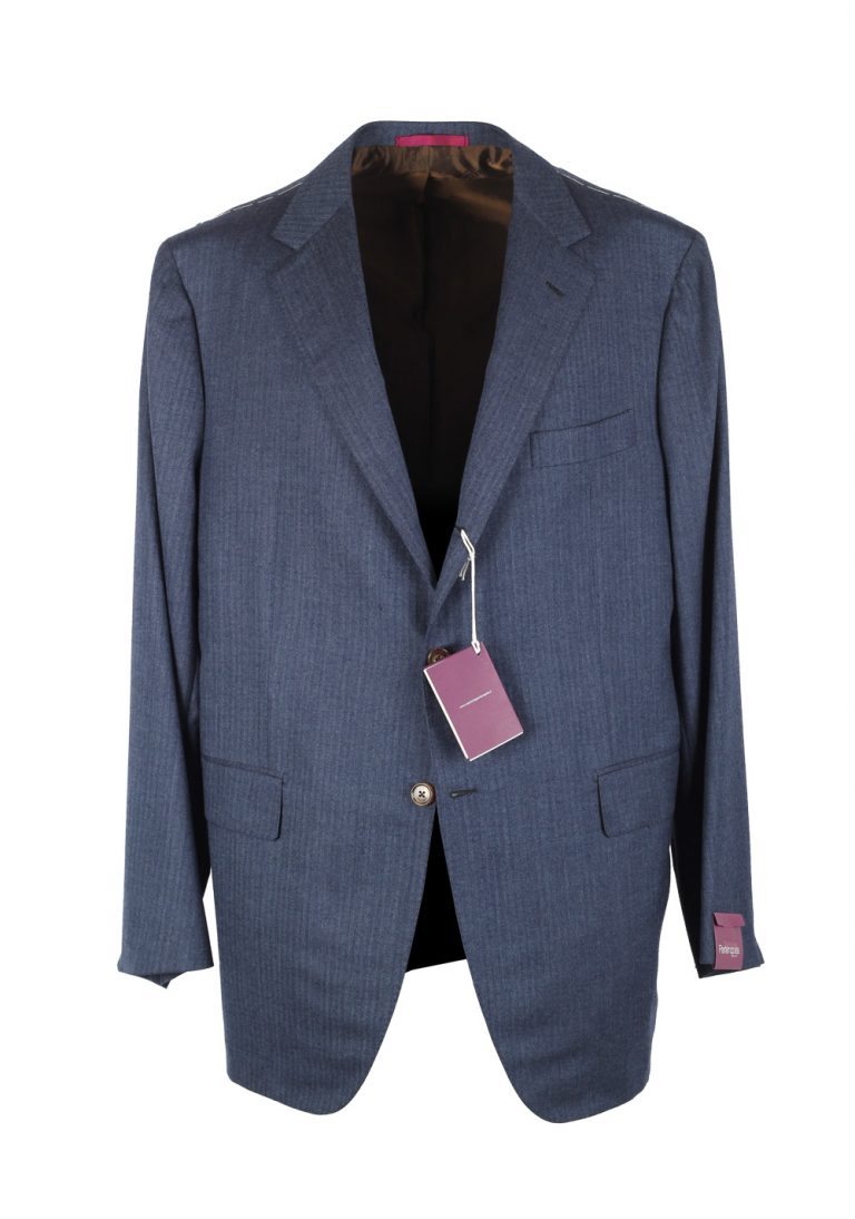 Sartoria Partenopea Blue Suit Size 58 / 48R U.S. In Wool Silk - thumbnail   Costume Limité