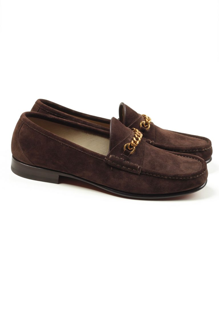 TOM FORD York Brown Suede Chain Loafers Shoes Size 10 UK / 11 U.S. - thumbnail | Costume Limité