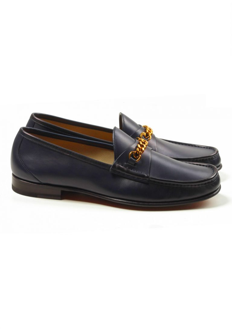 TOM FORD York Blue Leather Chain Loafers Shoes Size 8,5 UK / 9,5 U.S. - thumbnail | Costume Limité