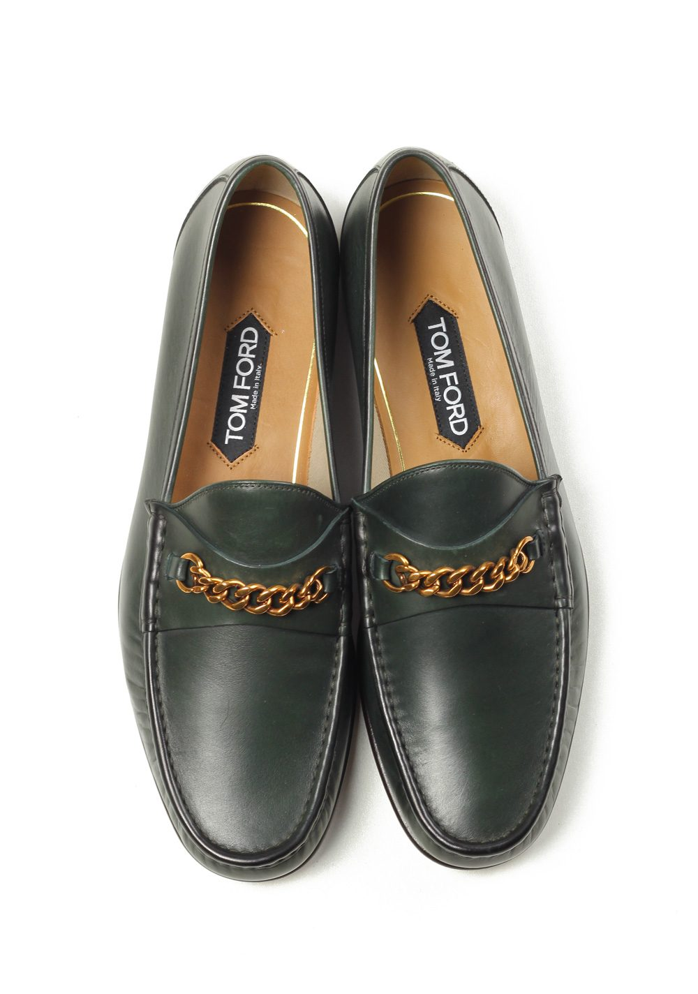 14916ff913b TOM FORD York Green Leather Chain Loafers Shoes Size 8
