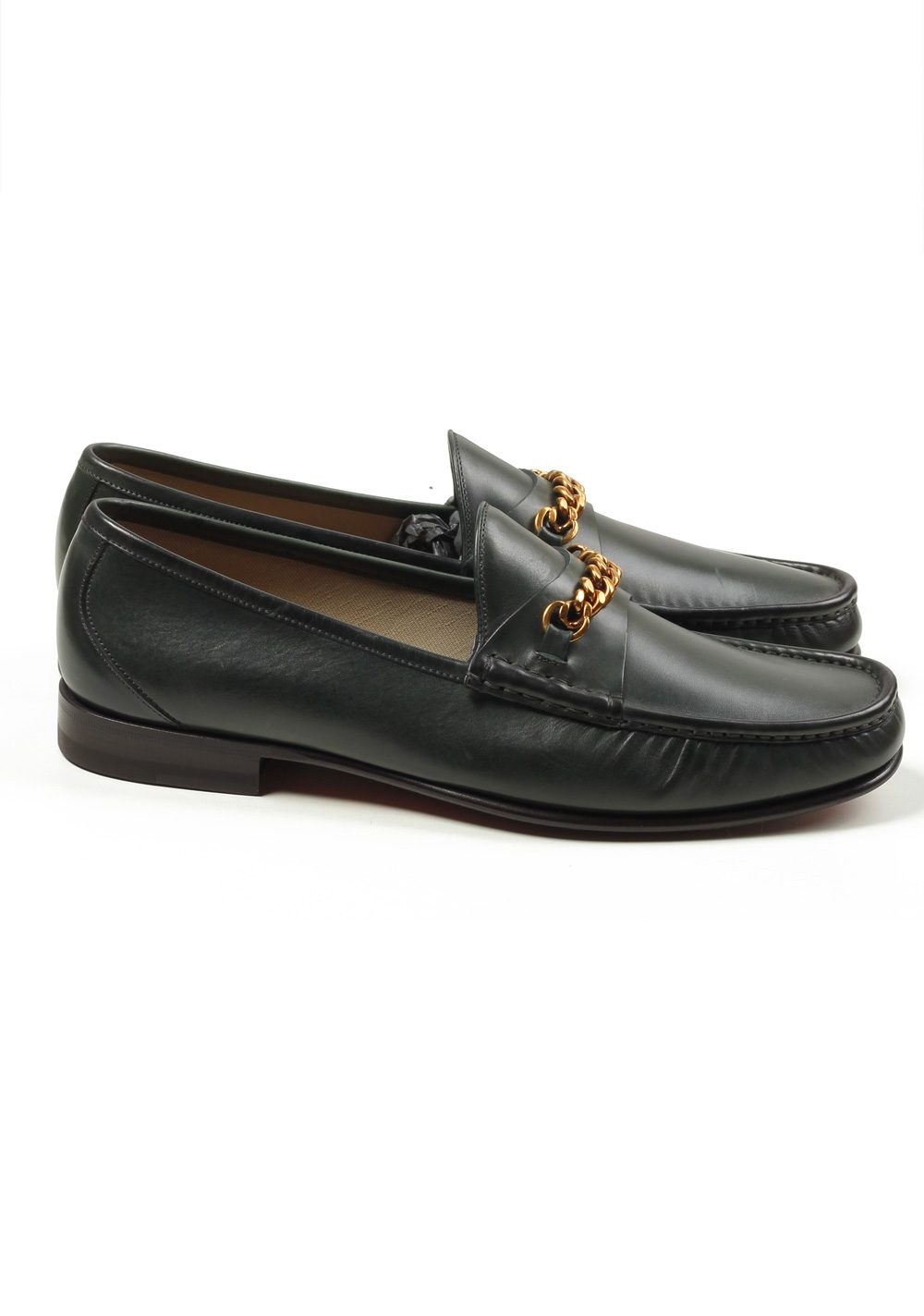 TOM FORD York Green Leather Chain Loafers Shoes Size 9,5 UK / 10,5 U.S.   Costume Limité