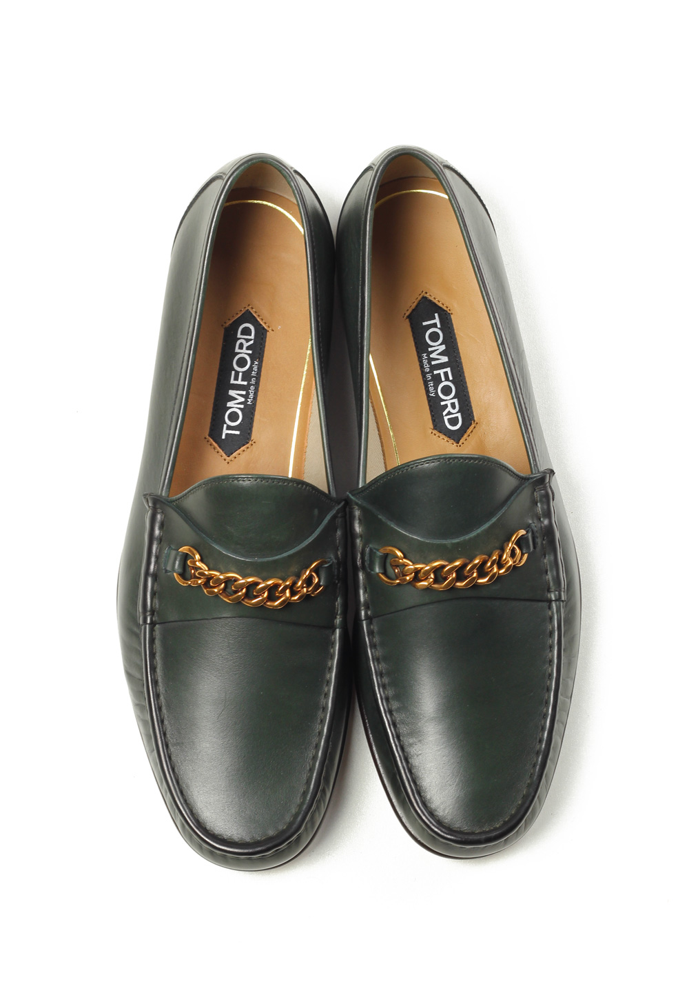 TOM FORD York Green Leather Chain Loafers Shoes Size 9,5 UK / 10,5 U.S. | Costume Limité