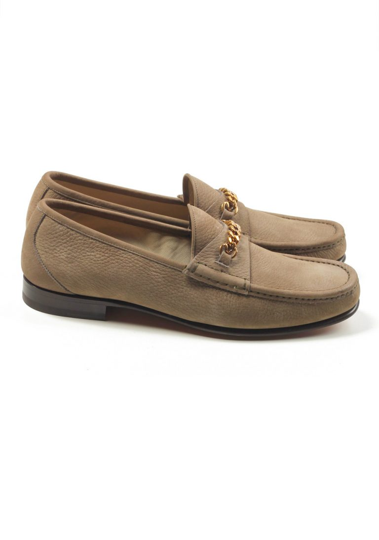 TOM FORD York Beige Nubuck Leather Chain Loafers Shoes Size 11 UK / 12 U.S. - thumbnail | Costume Limité