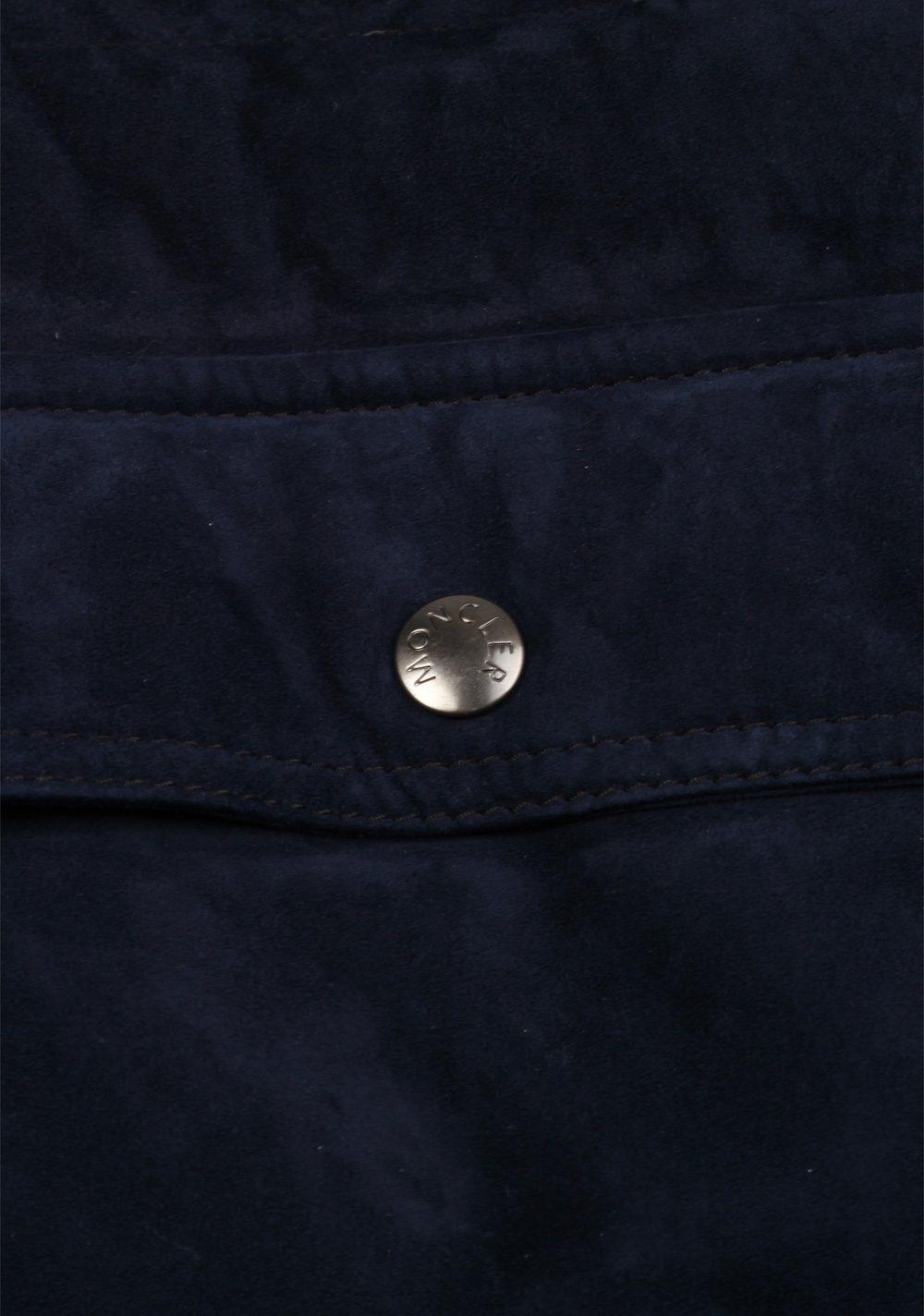Moncler Navy Maglia Suede Cardigan Coat Size XL / 44R U.S.   Costume Limité