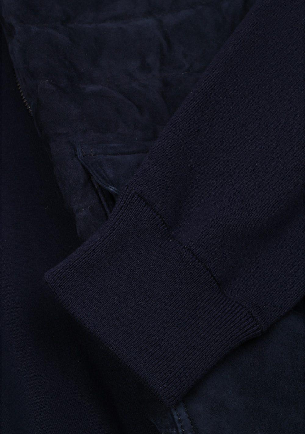 Moncler Navy Maglia Suede Cardigan Coat Size XL / 44R U.S. | Costume Limité