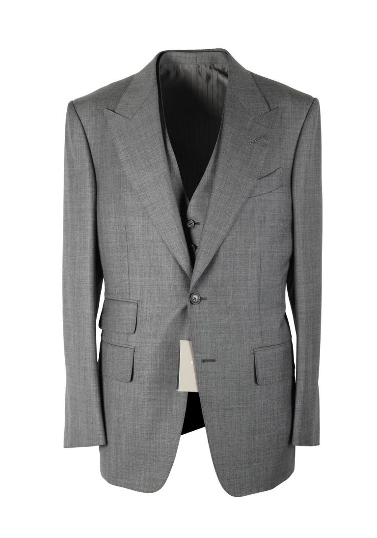 TOM FORD Windsor Gray Sharkskin 3 Piece Suit In Wool Fit A - thumbnail | Costume Limité
