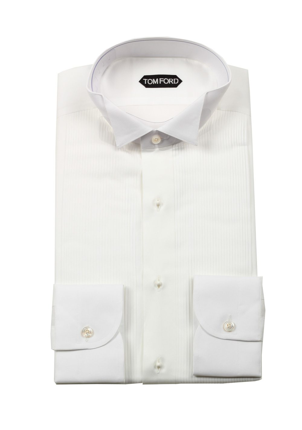 TOM FORD Solid White Tuxedo Shirt Size 41 / 16 U.S. | Costume Limité