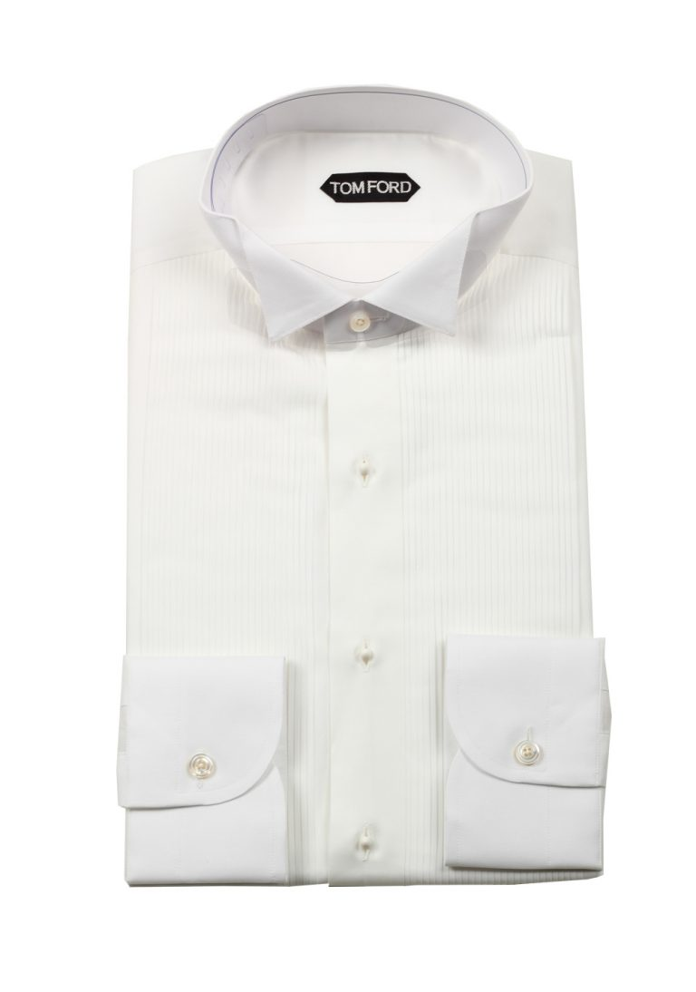 TOM FORD Solid White Tuxedo Shirt Size 41 / 16 U.S. - thumbnail | Costume Limité