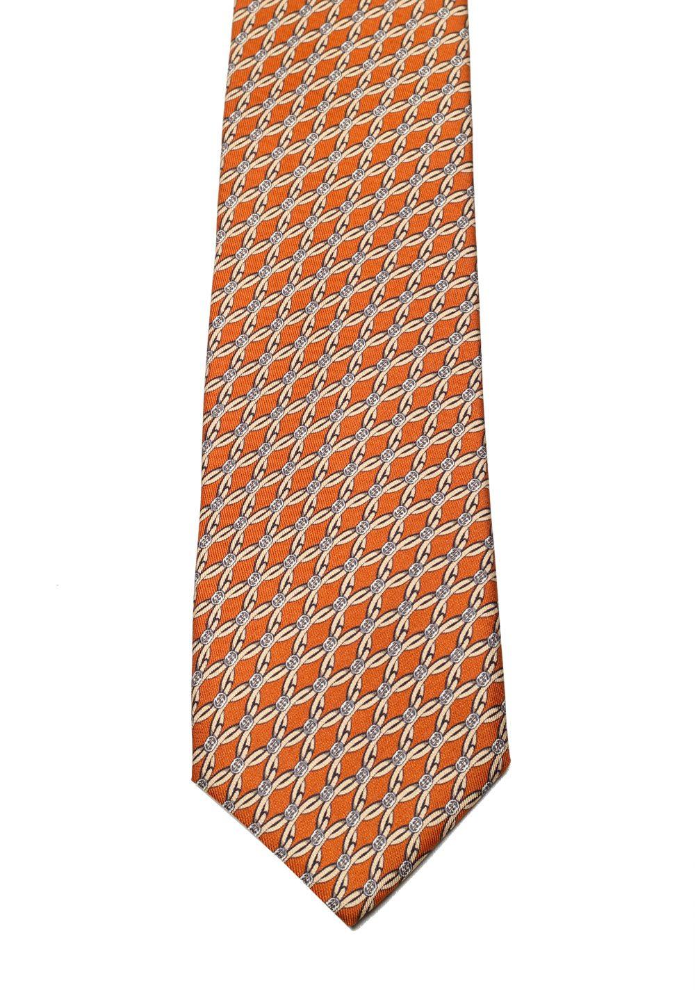 Gucci Orange Patterned Tie | Costume Limité