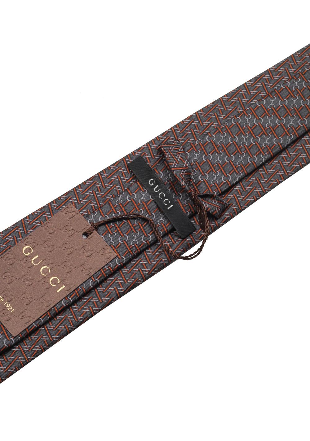 Gucci Gray Patterned Tie   Costume Limité