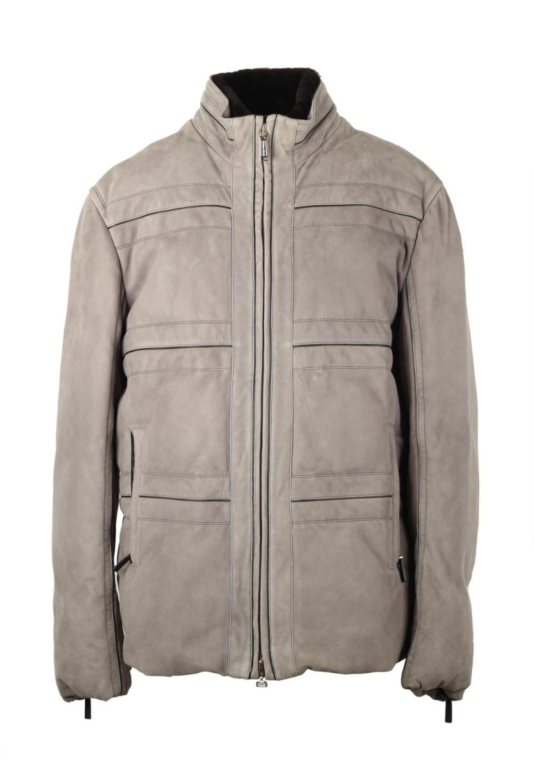 Massimo Sforza Gray Leather Coat Jacket Size 58 / 48R U.S. - thumbnail | Costume Limité