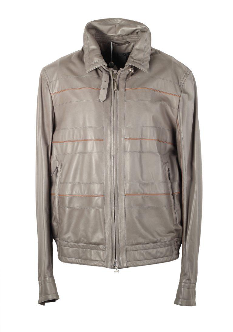 Massimo Sforza Gray Leather Coat Jacket Size 56 / 46R U.S. - thumbnail | Costume Limité