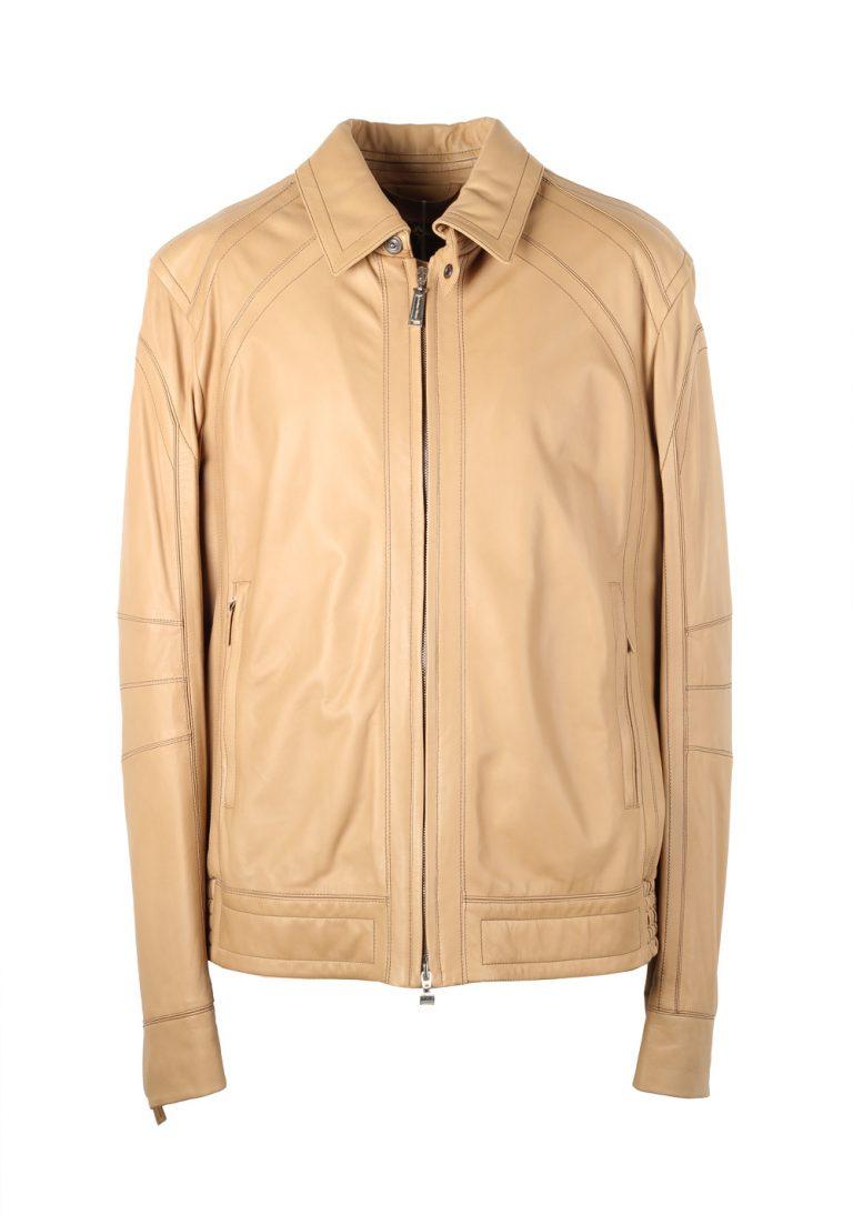 Massimo Sforza Beige Leather Coat Jacket Size 56 / 46R U.S. - thumbnail | Costume Limité