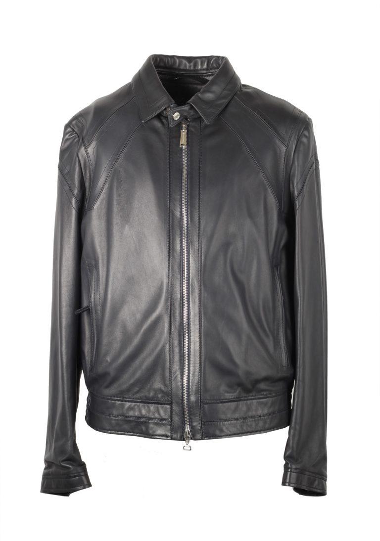 Massimo Sforza Blue Leather Coat Jacket Size 52 / 42R U.S. - thumbnail | Costume Limité