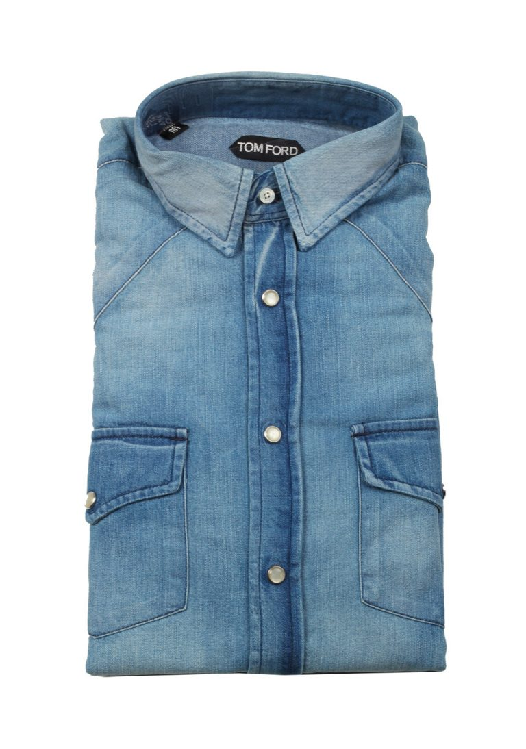 TOM FORD Solid Blue Denim Western Casual Size 40 / 15,75 U.S. - thumbnail | Costume Limité