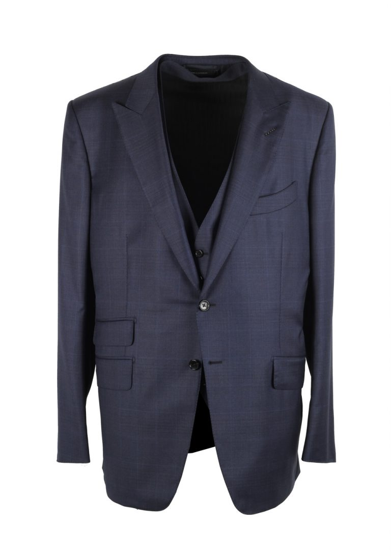 TOM FORD O'Connor Blue Checked 3 Piece Suit Size 56 / 46R U.S. Fit Y - thumbnail   Costume Limité