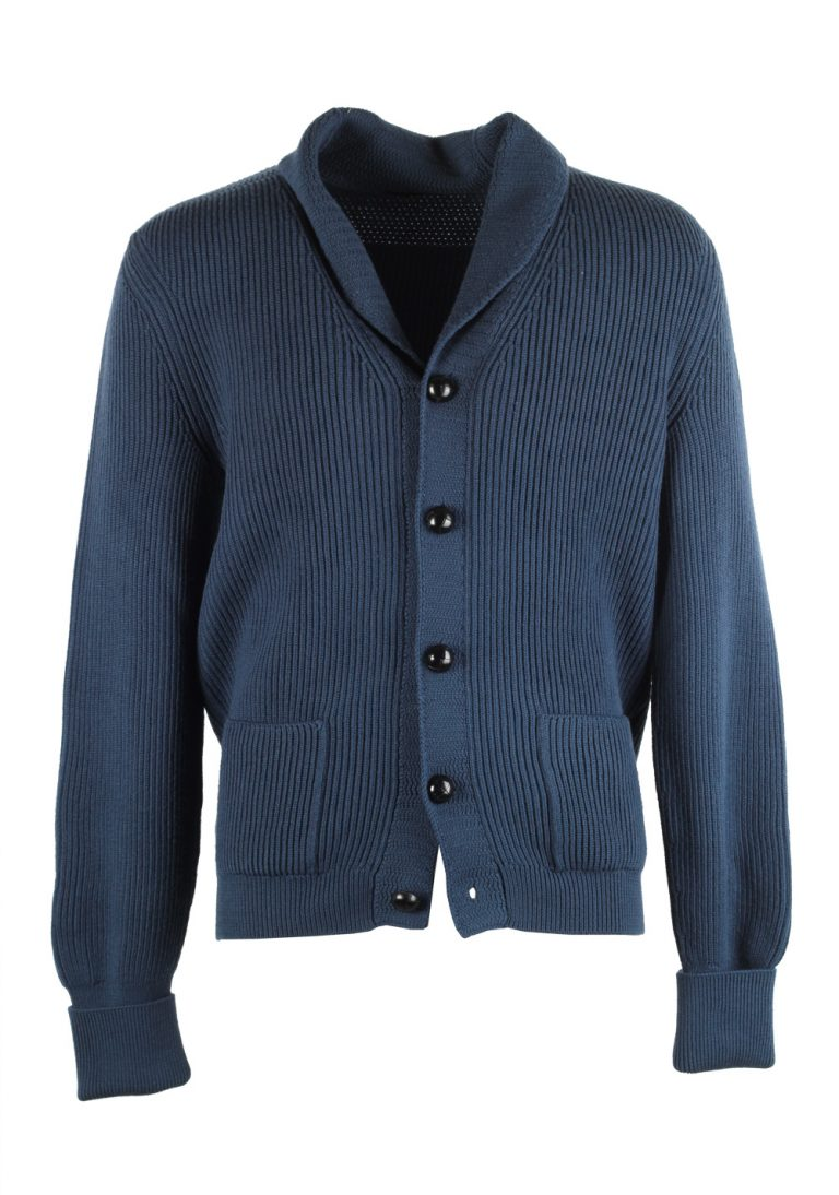 TOM FORD Blue Shawl Collar Cardigan 007 / Mcqueen Size 56 / 46R U.S. Wool - thumbnail | Costume Limité