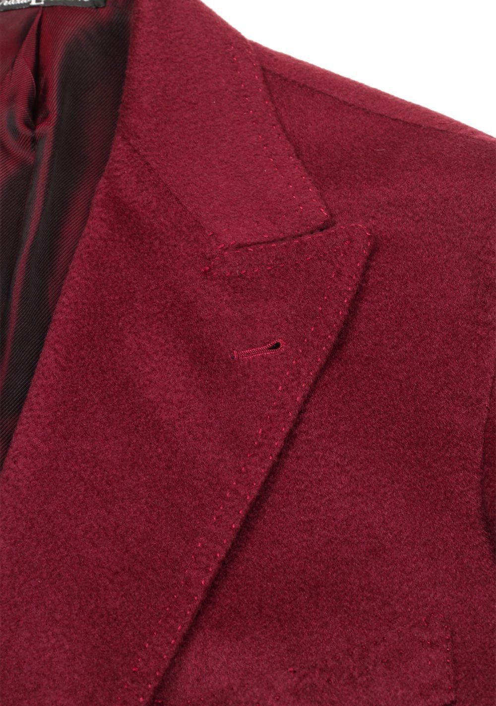 Orazio Luciano Burgundy Double Breasted Over Coat Size 52 / 42R U.S. In Cashmere | Costume Limité