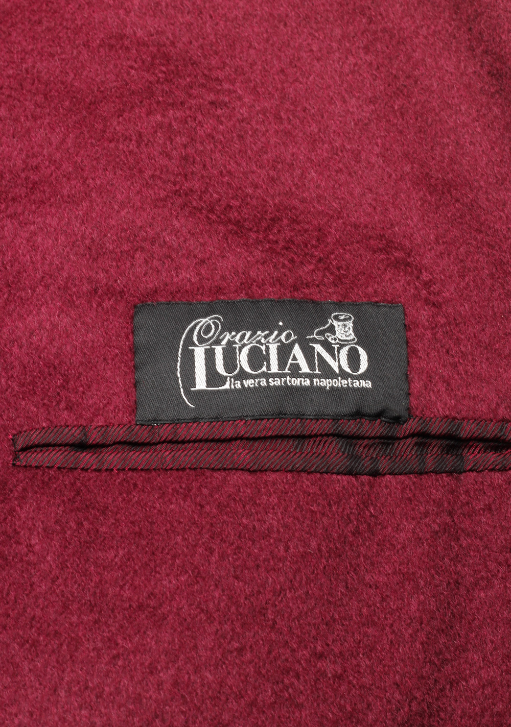 Orazio Luciano Burgundy Double Breasted Over Coat Size 52 / 42R U.S. In Cashmere   Costume Limité