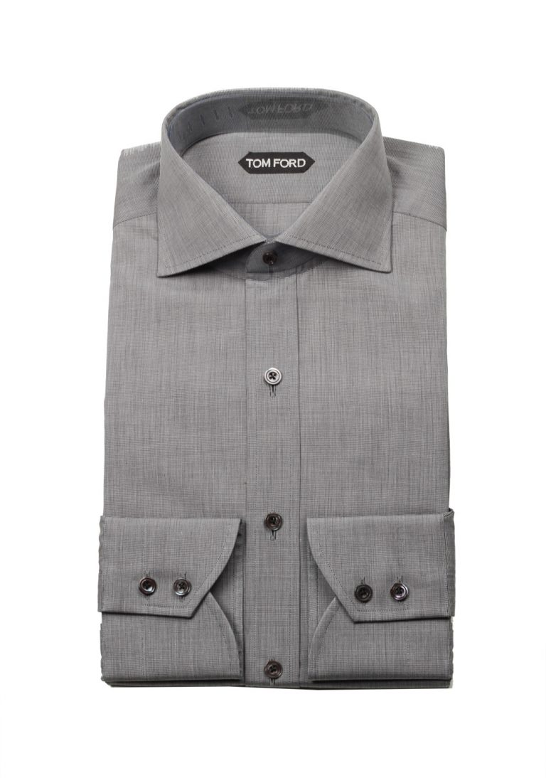 TOM FORD Solid Gray Dress Shirt Size 40 / 15,75 U.S. - thumbnail | Costume Limité
