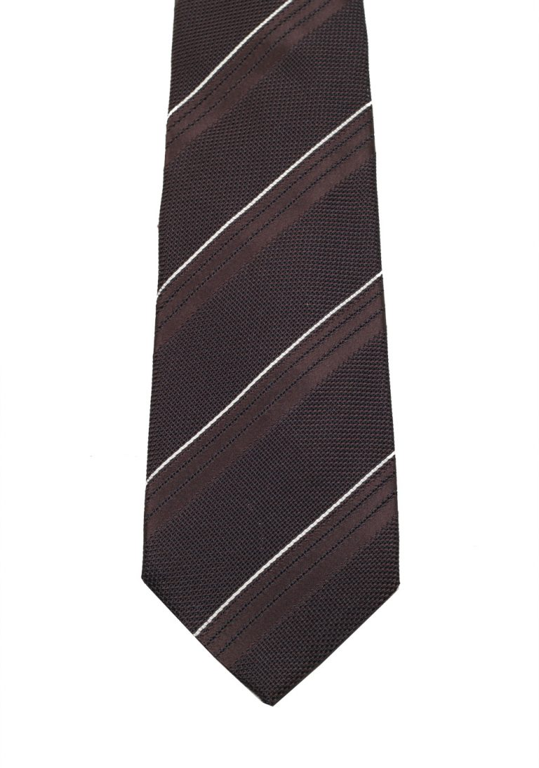 TOM FORD Striped Brown Tie In Silk - thumbnail | Costume Limité