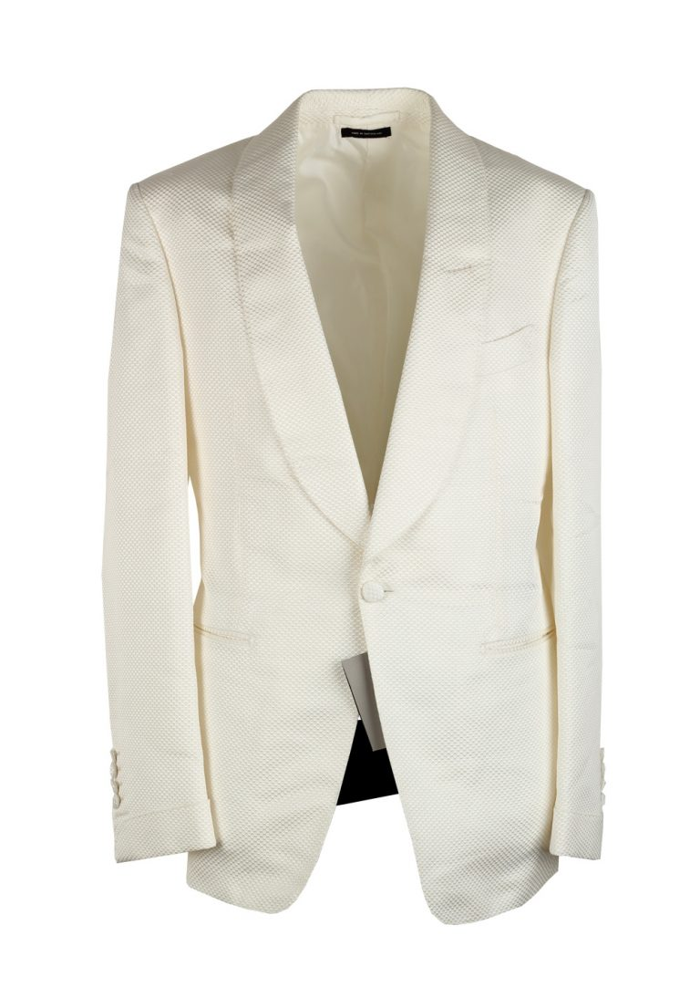 TOM FORD Shelton White Shawl Collar Sport Coat Tuxedo Dinner Jacket Size 48 / 38R U.S. - thumbnail | Costume Limité
