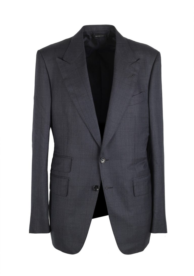 TOM FORD Shelton Checked Blue Suit Size 48 / 38R U.S. In Wool Silk - thumbnail | Costume Limité