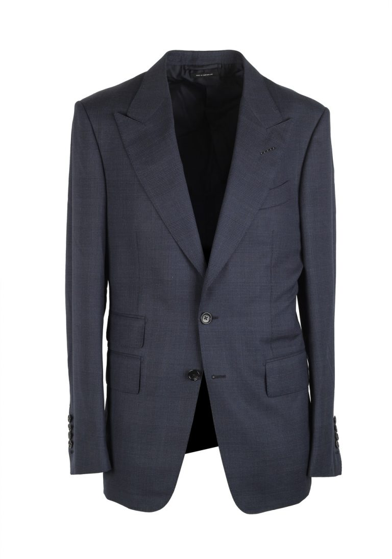 TOM FORD Shelton Checked Blue Suit Size 48 / 38R U.S. In Silk Wool - thumbnail | Costume Limité