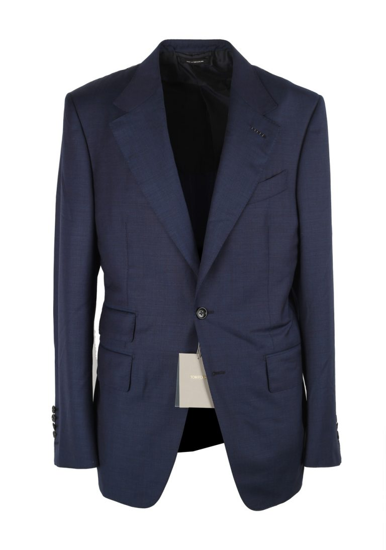 TOM FORD Shelton Blue Suit Size 56 / 46R U.S. In Wool - thumbnail | Costume Limité