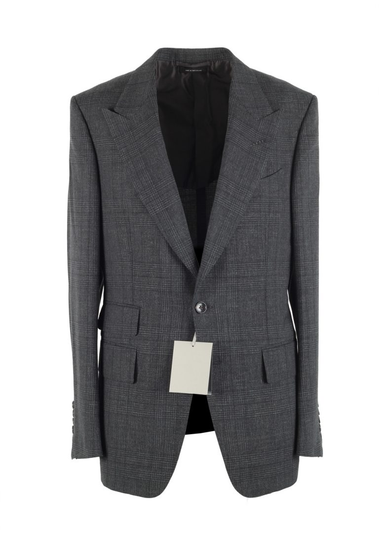 TOM FORD Shelton Checked Gray Sport Coat Size 48 / 38R U.S. In Mohair Linen - thumbnail | Costume Limité
