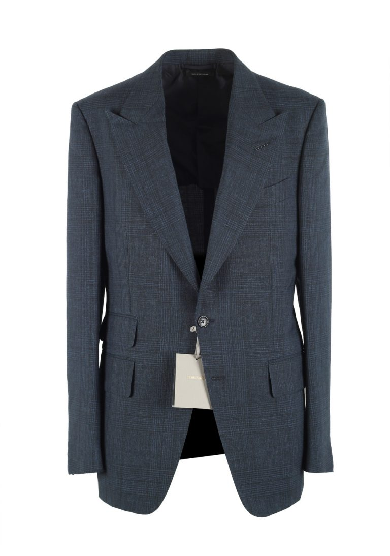 TOM FORD Shelton Checked Blue Sport Coat Size 48 / 38R U.S. In Mohair Linen - thumbnail | Costume Limité
