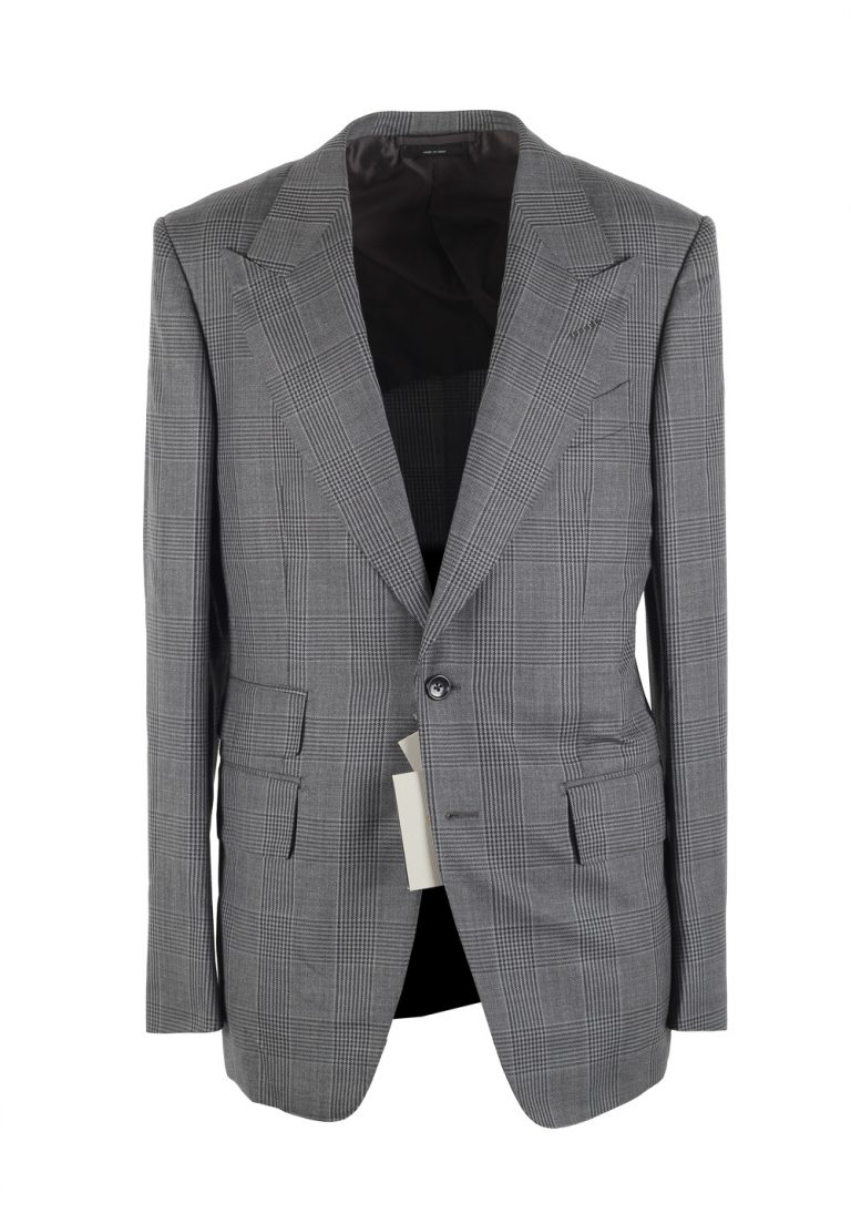 TOM FORD Shelton Checked Gray Sport Coat Size 48 / 38R U.S. In Wool Silk - thumbnail | Costume Limité