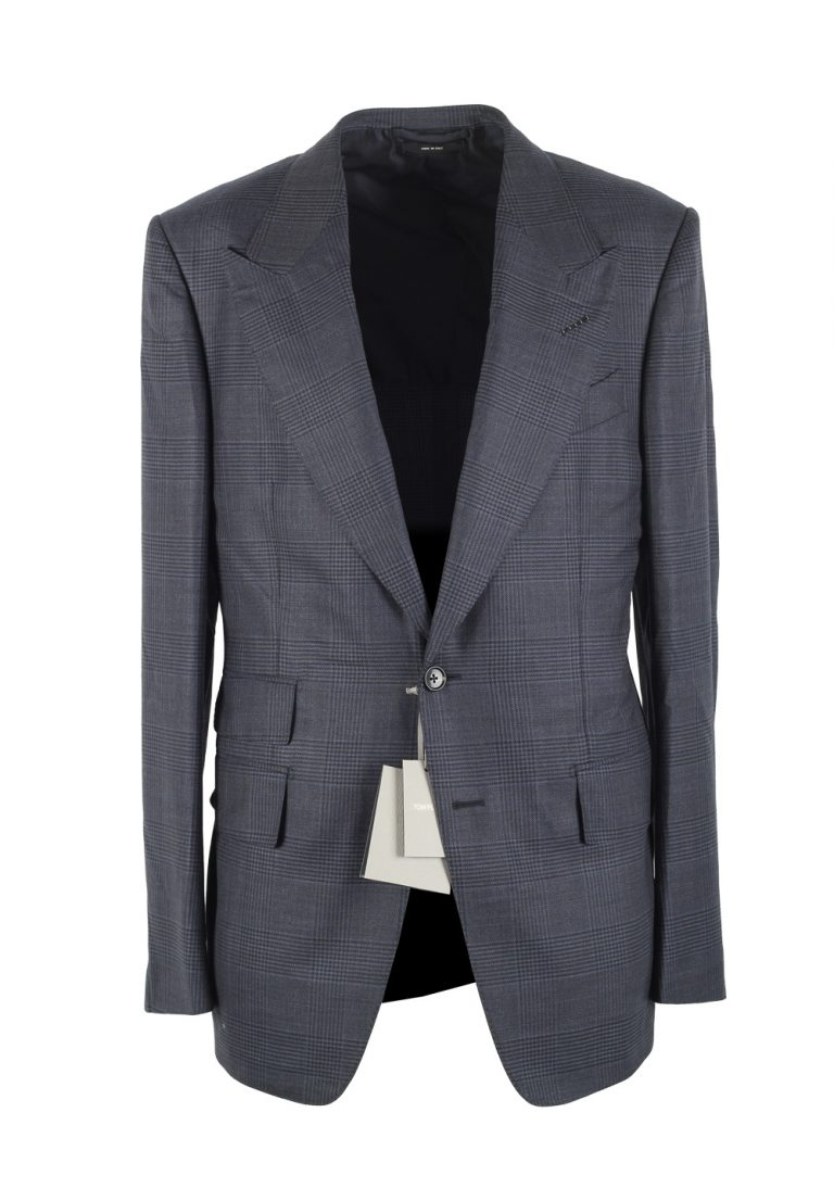 TOM FORD Shelton Checked Blue Sport Coat Size 48 / 38R U.S. In Wool Silk - thumbnail | Costume Limité