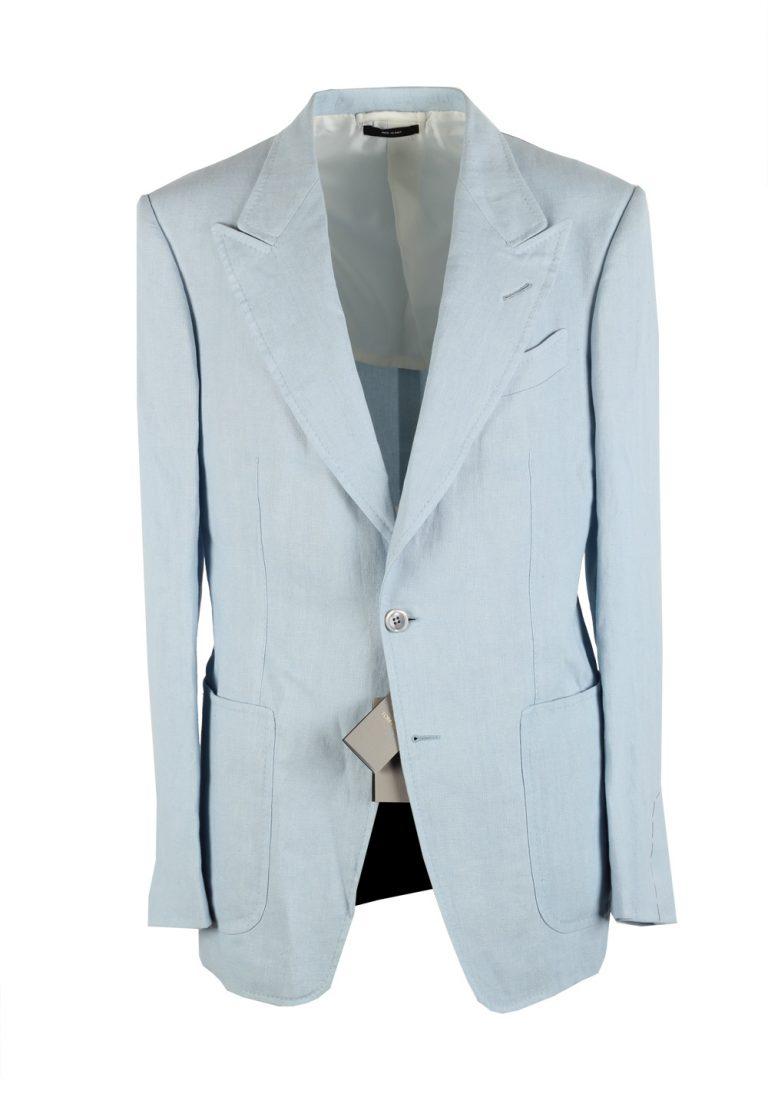 TOM FORD Shelton Blue Sport Coat Size 48 / 38R U.S. In Linen - thumbnail | Costume Limité