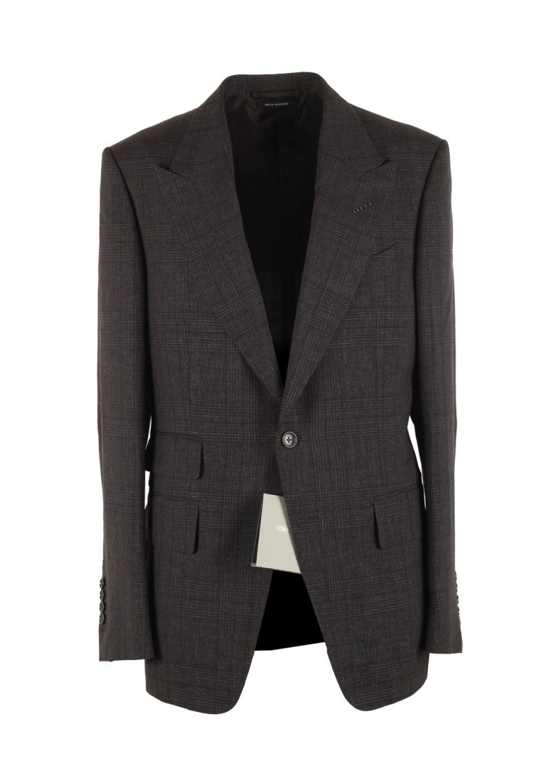 TOM FORD Shelton Checked Brown Sport Coat Size 48 / 38R U.S. In Mohair Linen - thumbnail | Costume Limité