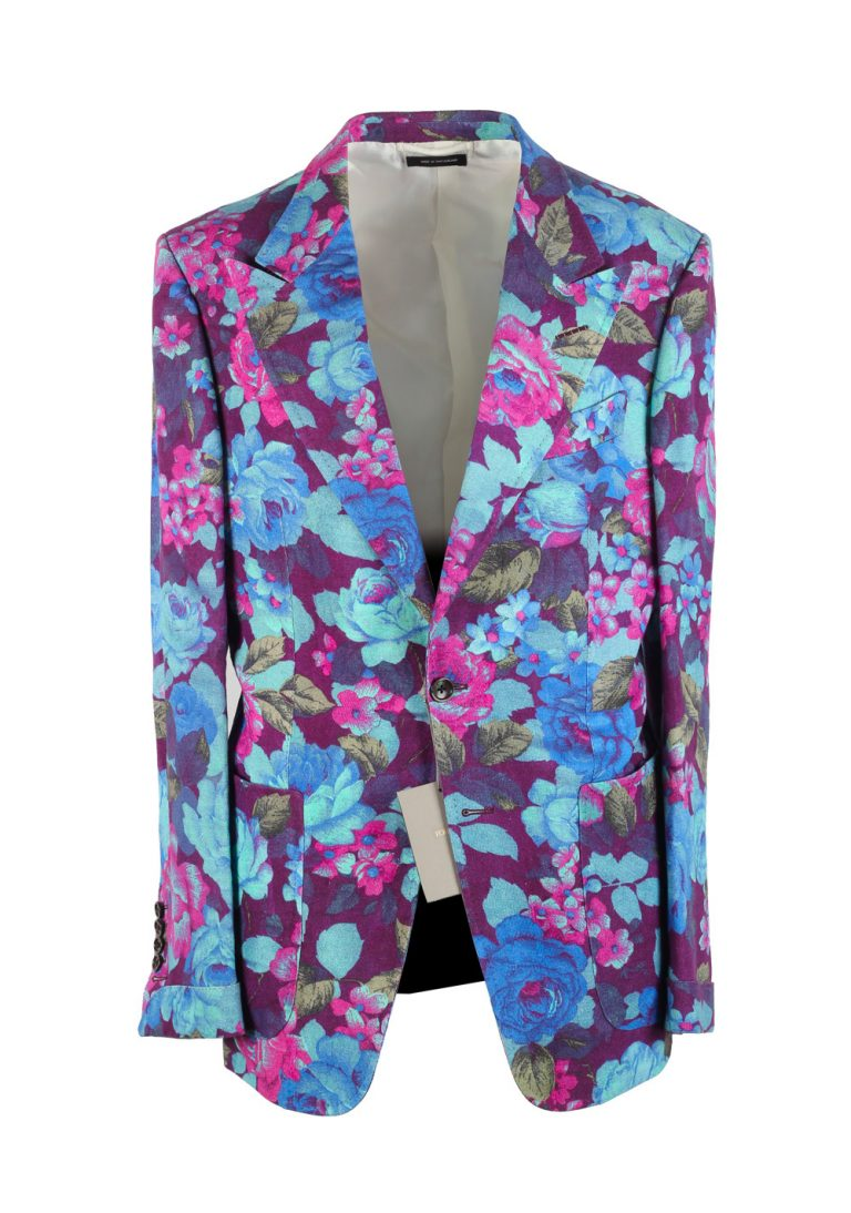TOM FORD Shelton Pink Floral Sport Coat Size 48 / 38R U.S. In Linen - thumbnail | Costume Limité