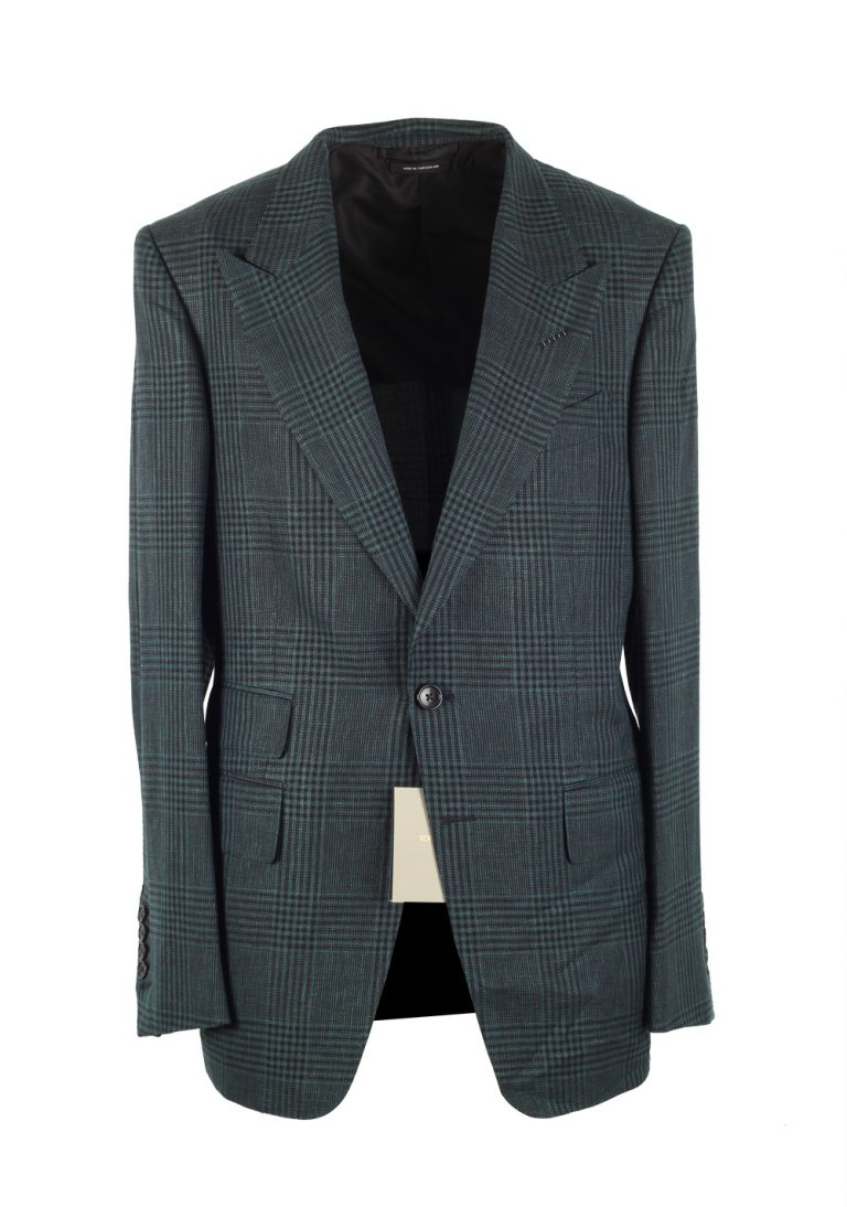 TOM FORD Shelton Checked Green Suit Size 48 / 38R U.S. In Linen Wool Silk - thumbnail | Costume Limité