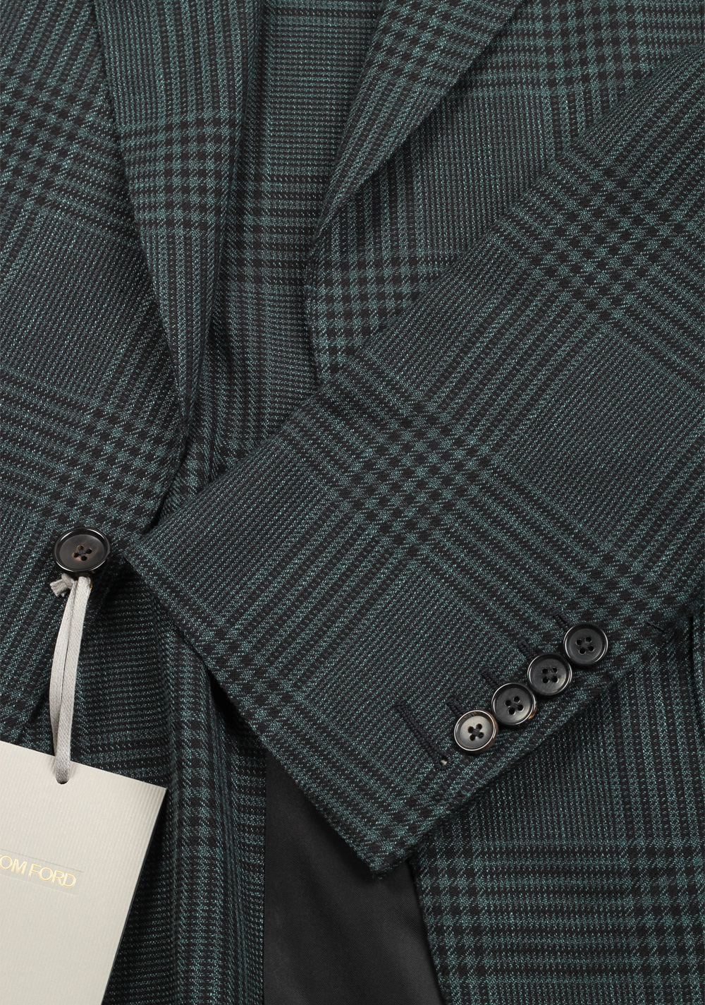 TOM FORD Shelton Checked Green Suit Size 48 / 38R U.S. In Linen Wool Silk | Costume Limité