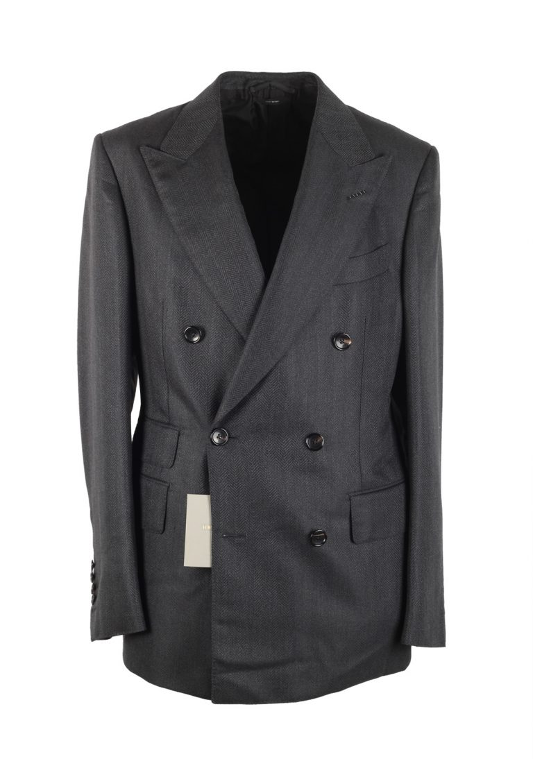 TOM FORD Shelton Gray Double Breasted Suit Size 48 / 38R U.S. In Mohair Wool - thumbnail | Costume Limité